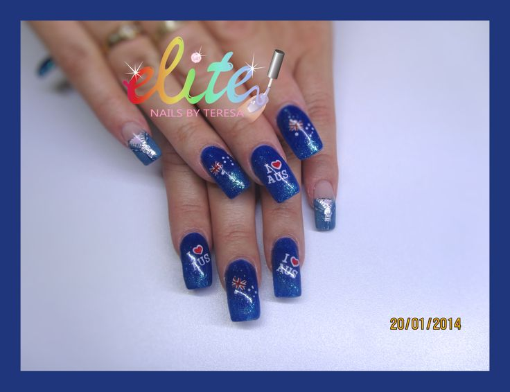 Australia Day nails Blue and glitter nail art stamping water decals I love Aus CND Shellac