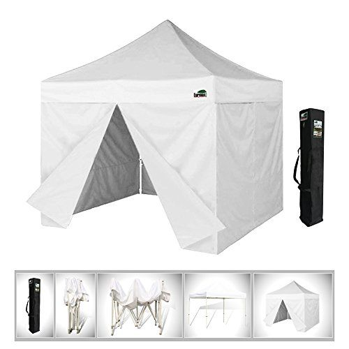 Eurmax 10 X 10 Pop up 4 Wall Canopy Instant Tent Wedding Gazebo Party Tent with 4 Removable Zipper End Sidewalls and Dust Cover White *** You can find more details by visiting the image link.