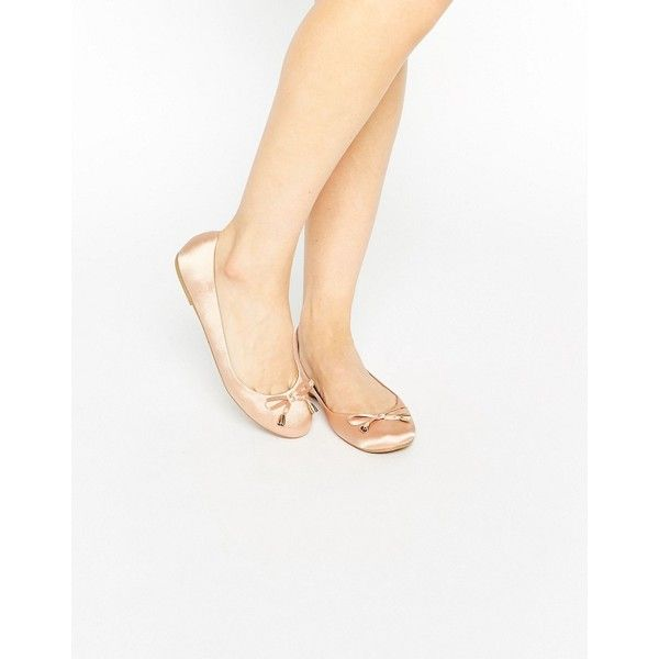 ASOS LEADER Ballet Flats ($23) ❤ liked on Polyvore featuring shoes, flats, beige, slip on shoes, bow ballet flats, flat shoes, beige flat shoes and ballet pumps