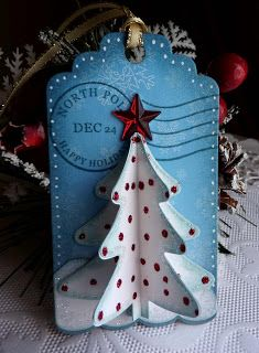 Olena Levchenko: Olena's Place Cottage Cutz dies: Homemade Christmas Gift Set (tree/star/ postage stamp), Scallop Insert Card/Tag.