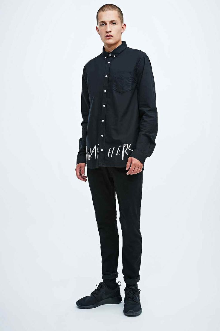 Libertine-Libertine Hunter Thrasher Text Shirt in Black