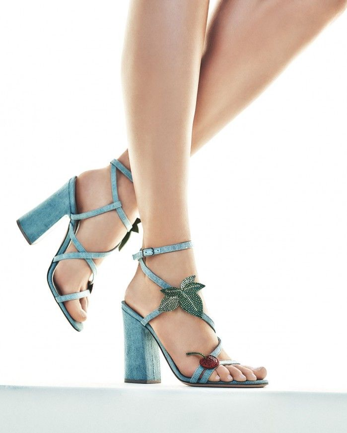 Gianvito Rossi Cherry Denim Strappy 100mm Sandal, Blue | Buy ➜ https://shoespost.com/gianvito-rossi-cherry-denim-strappy-100mm-sandal-blue/