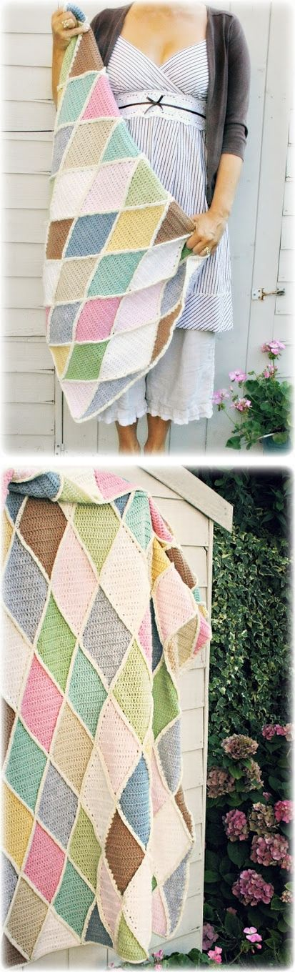 """So much crochet inspiration in this post! Coco Rose's """"Harlequin"""" blanket, from Wood & Wood Stool's pattern #crochet #afghan #throw"""