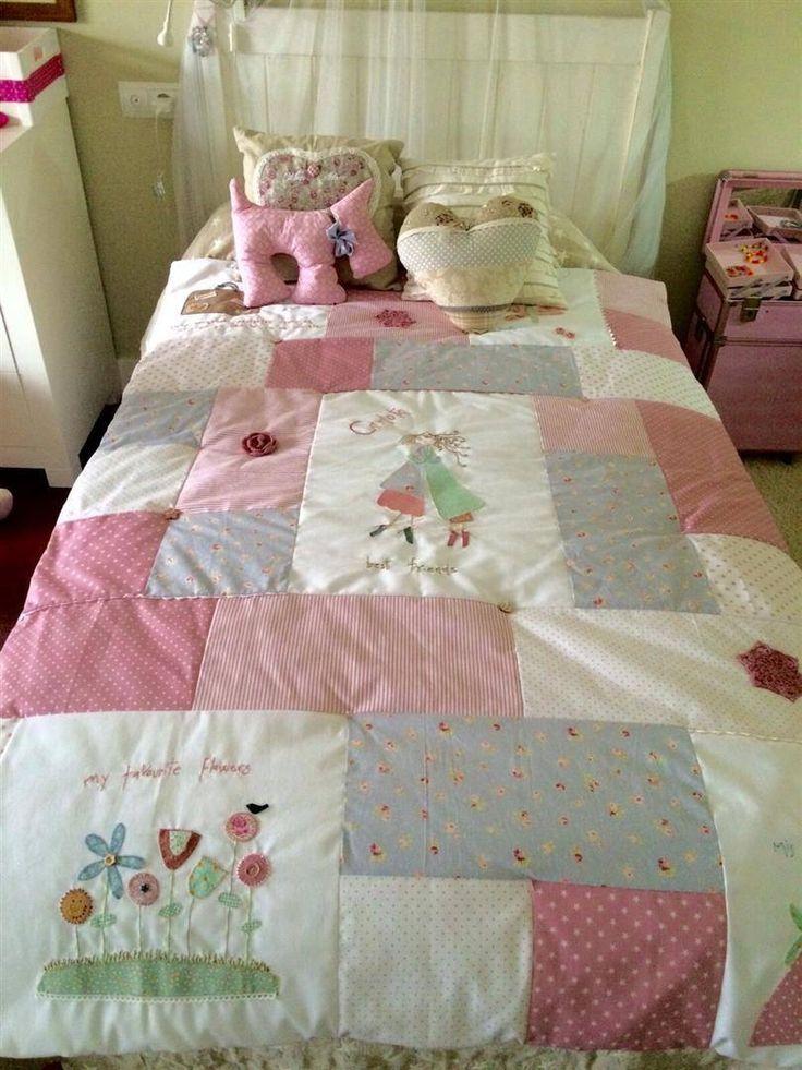 Decorar interiores: Colcha de patchwork. Para que tu habitación quede la más bonita y original. Descubre cómo hacer más y combinar telas en nuestra web. www.telasdeluna.com