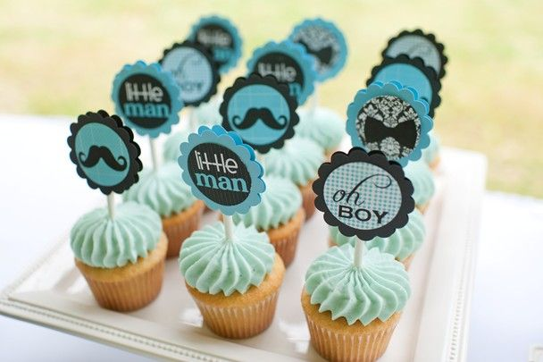 We Heart Parties: Party Information - Mustache Bash Baby Shower - mini cupcakes of multiple flavors with sticks that have cars on them!