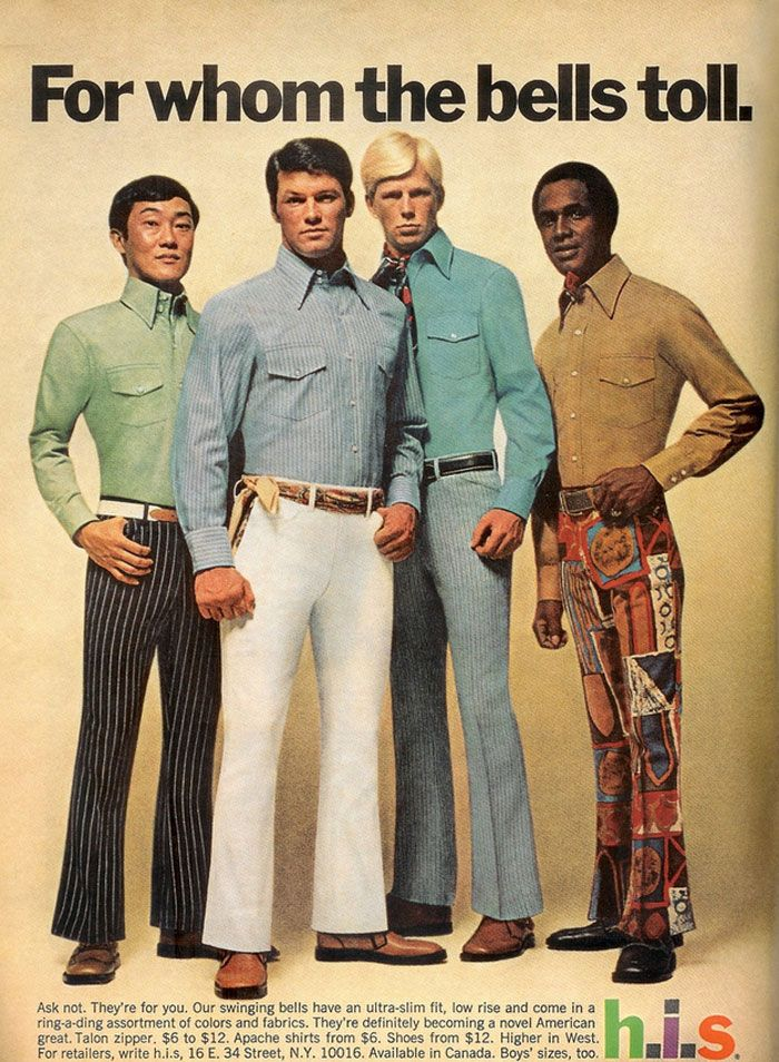 Men's Fashion from the 1970's: The bell bottom pants became popular in the late 60s and continued to widen into the 70s as they gained in popularity. This was a time where polyester became a popular fabric to use in clothing. Also bold colors and prints became part of men's fashion for the first time. We can see in the image the use of plaids.