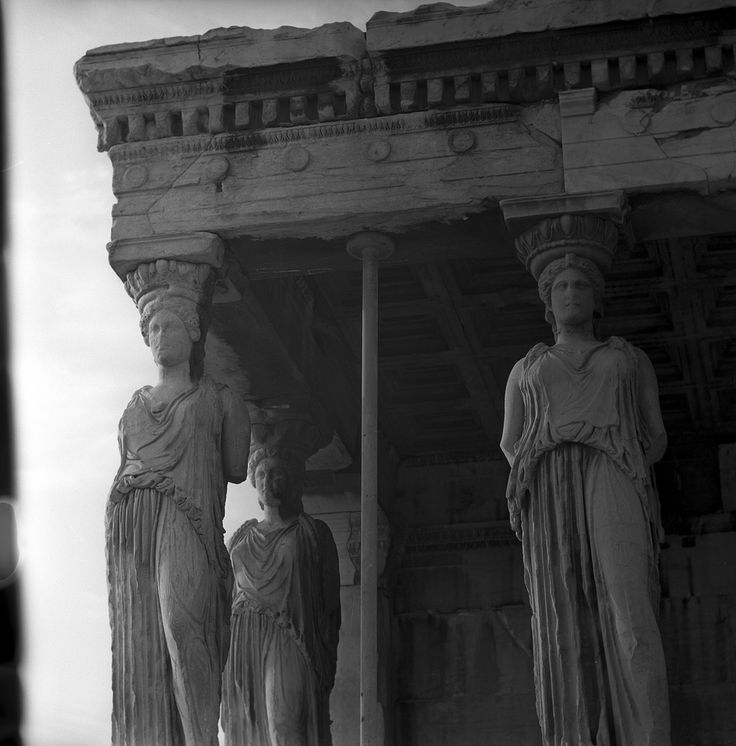 Athens, Greece May 1959  porch of the Caryatids Erechtheion  set includes photographs of the ancient ruins of the acropolis, also views of the modern city of Athens, Greece. from Nick and Maggie's spring 1959 trip to europe.  part of an archival project, featuring the photographs of Nick Dewolf