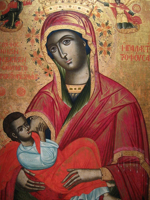 "Virgin Mary ""lactans"" , showing Mary breastfeeding Jesus. Painted in 1784. Byzantine Museum, Thessaloniki, Greece."