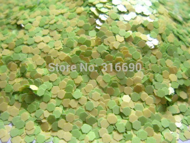 Матовый шестигранни зеленый и желтый блеск смесь устойчивы к воздействию растворителей смесь для лак для ногтей Frankening скрапбукинг