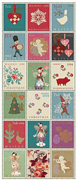 Maileg 2013: Serviet julemærker - Butik Paradisets bamser, tøj og brugskunst
