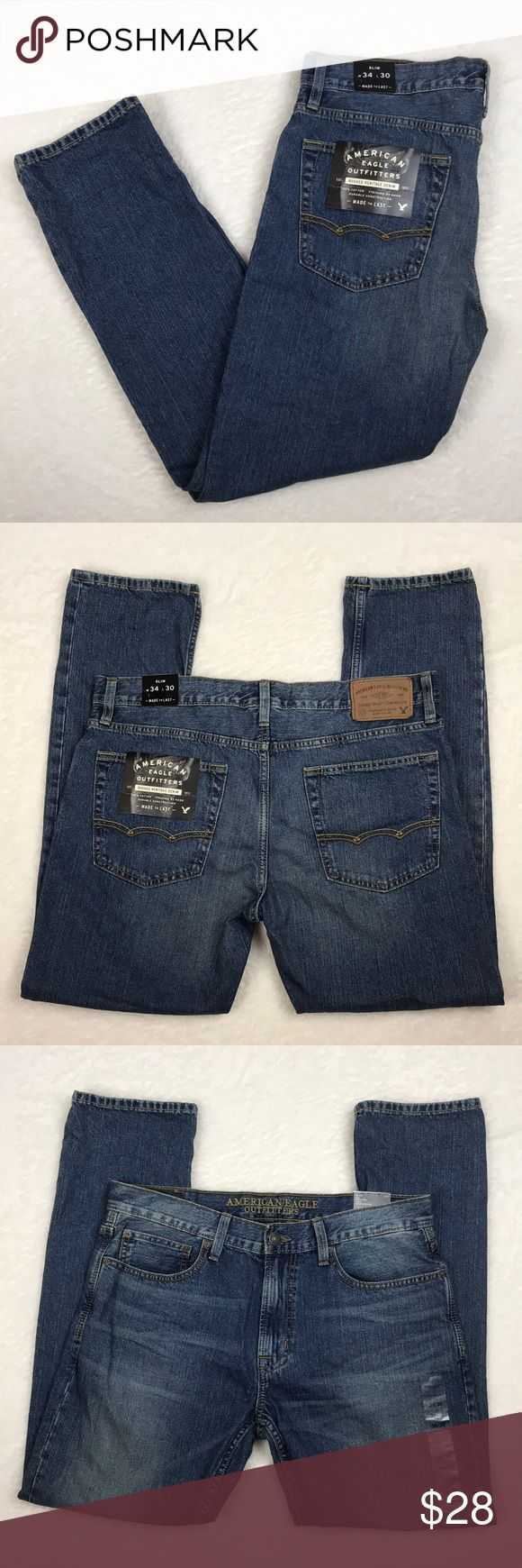 NWT American Eagle Men's Slim 34x30 Jeans NWT American Eagle Men's Slim 34x30 Jeans  Medium wash - No. 3818  100% Cotton, finished by hand American Eagle Outfitters Jeans Slim