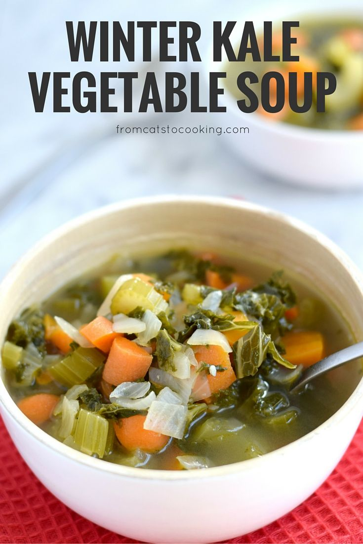 This Winter Kale Vegetable soup is loaded with vegetables like kale, carrots and celery and packed with super savory herbs like rosemary, thyme and garlic. Perfect for the cold winter days. (gluten free, paleo, whole 30, vegetarian, vegan)