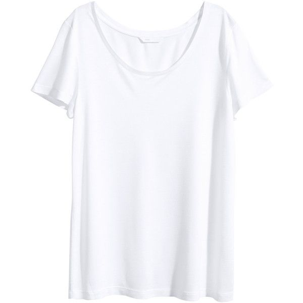 H&M Short-sleeved top ($12) ❤ liked on Polyvore featuring tops, white, h&m tops, white short sleeve top, h&m, short sleeve tops and white top
