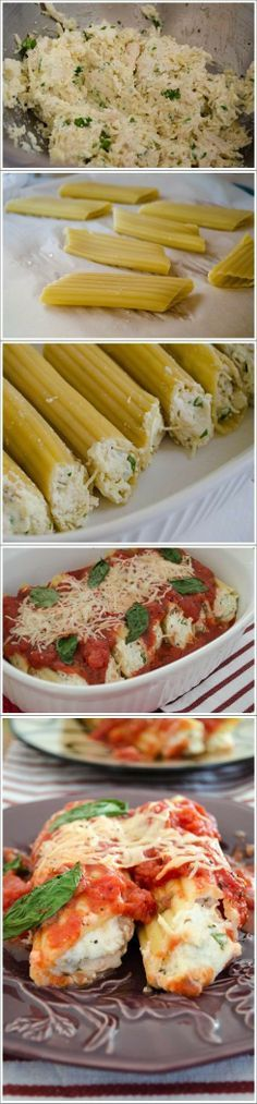 Parmesan Chicken Manicotti - this was super yummy! I love the chicken in the filling. I added a clove of garlic to the filling and another to the sauce. I also added 1/2 tsp red pepper flakes to the sauce. - fantasticsausage