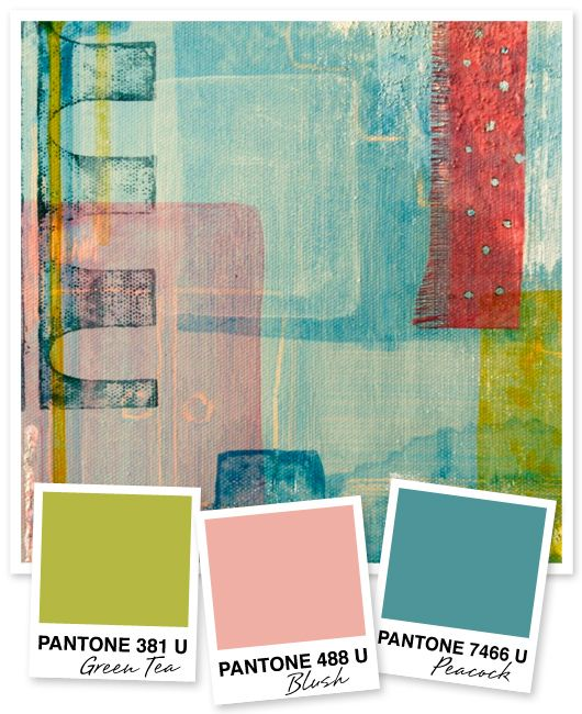 Green Tea, Blush Pink and Peacock Turquoise Color Palette - This color palette has a retro-mod feel and is inspired by the painterly brush strokes of Hidëko Noguchi.
