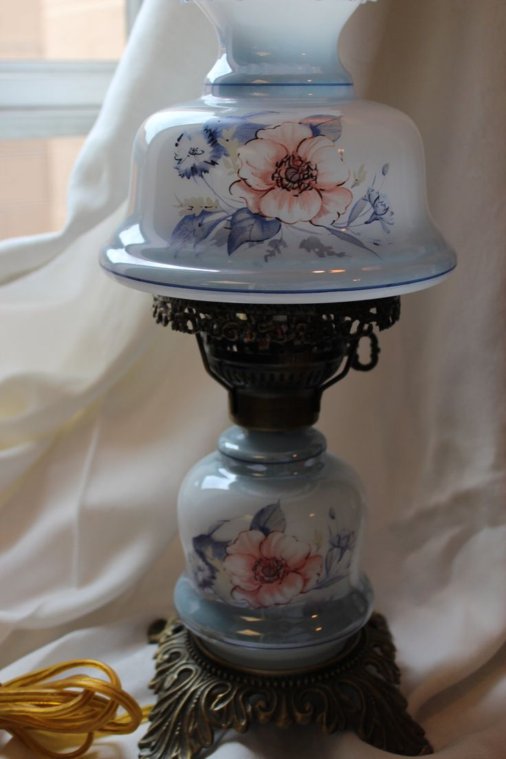 Vintage Blue Floral Hurricane Lamp. $49.99, Via Etsy.