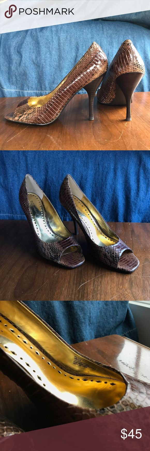 BCBBG Heels BCBG Girls beautiful brown leather python peep toe heels. Worn only once, like new! Beautiful style heel, great for any season with a cocktail dress or with your favorite denim! Please comment below for any questions! BCBG Shoes Heels