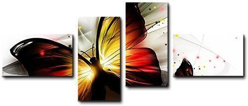 Quadro moderno 4 pz stampa su tela cm 176x74 quadri XXL arte astratto farfalle