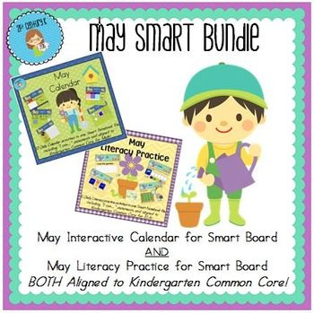 Updated for the 2016-2017 School Year! *Created with Smart Notebook and intended for use with Smart Boards. File may not be compatible with other types of software. Get BOTH Interactive Smart Files and SAVE $1.50! INCLUDES Calendar AND Literacy Practice for