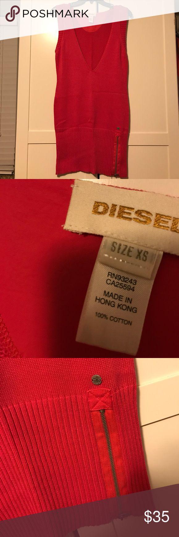 Pink diesel sweater tunic Hot pink sweater Diesel Tops Tunics