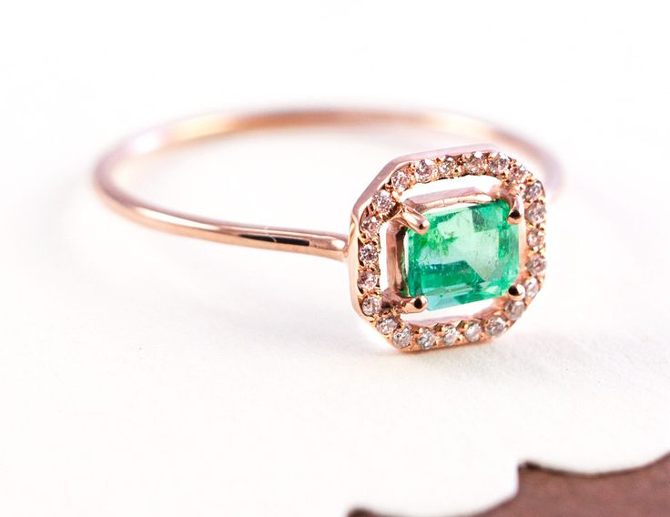 Unconventional Engagement ring idea - I Heart It!!!                                      Emerald Ring, $510.00, via Etsy.
