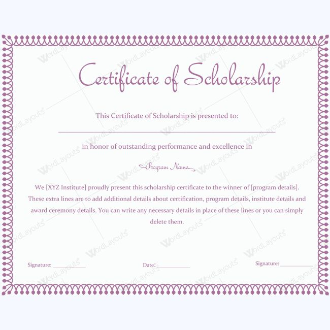 13 best Certificate of Scholarship templates images on Pinterest - sample scholarship certificate