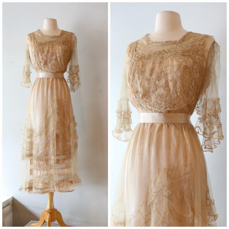 Vintage Edwardian Wedding Dress ~ Vintage 1910s Antique Wedding Dress ~ Edwardian Embroidered Lace and Net Silk Wedding Dress by xtabayvintage on Etsy