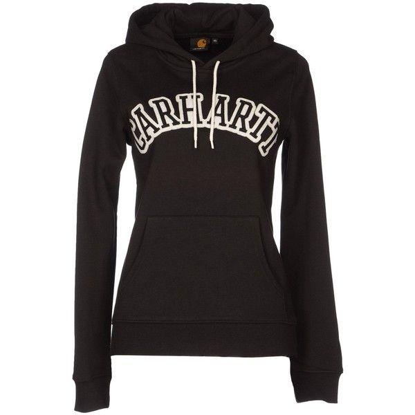 CARHARTT Sweatshirt ($98) ❤ liked on Polyvore featuring tops, hoodies, sweatshirts, jackets, black, cotton hoodie, carhartt hoodies, cotton sweatshirt, black sweatshirt hoodie and sweatshirts hoodies