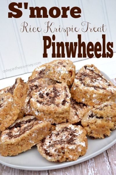 Absolute perfection in a dessert! You will want to make these S'more Rice Krispie Treat Pinwheels tonight!