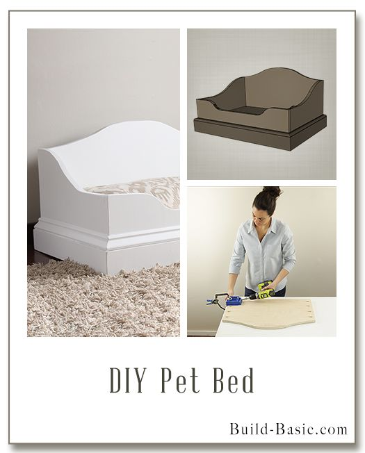 Build a DIY Pet Bed – could be cute for a kids reading corner. Free Building Plans by Build Basic @Build Basic www.build-basic.com for buildsomething.com