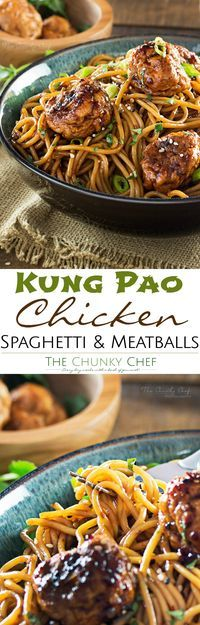 This version of Kung Pao chicken has all the flavors you'd expect from the classic dish, but in a comforting, homestyle spaghetti and meatballs package! | http://thechunkychef.com