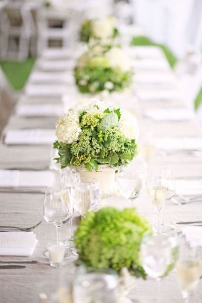 Style Me Pretty Green table decorations decor wedding Green Wedding themeIdeas, Tables Sets, White Wedding, White Centerpiece, Wedding Theme, Centerpieces, Green Flower, Green Weddings, Tables Decor