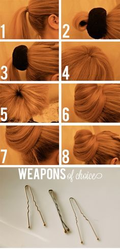 How to use the sock bun method...this actually looks better than most I've seen that require you to roll your sock down the pony tail=mess for layered hair. This one you simply wrap around and pin!