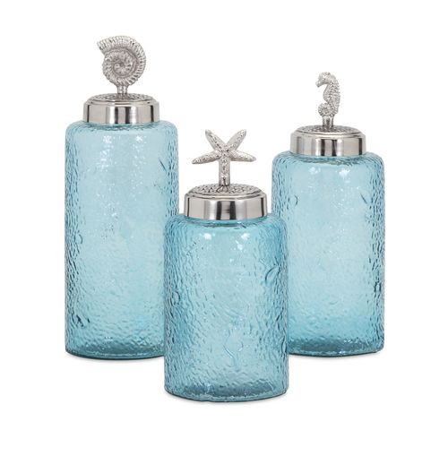Add ocean style with this set of three, Turquoise Sea Life Round Canisters filled with essentials for coastal living or found beach treasures.