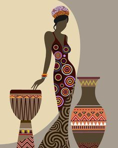 African Woman Art, Black Girl Wall Decor Painting