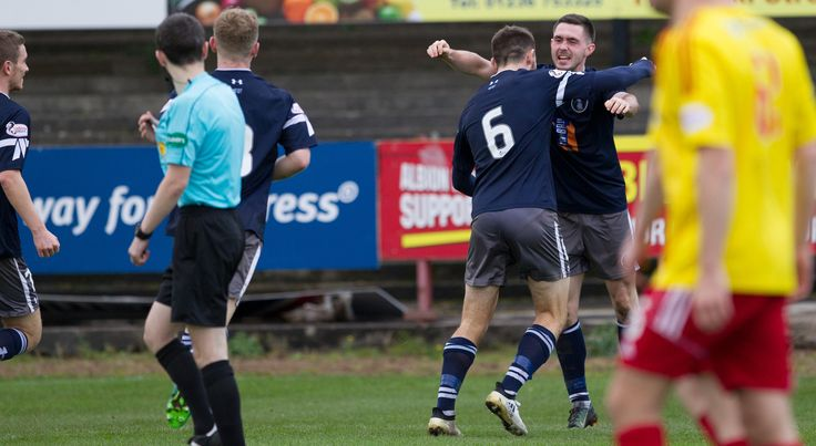 Queen's Park's Thomas Orr celebrates his goal during the SPFL League One game between Albion Rovers and Queen's Park.