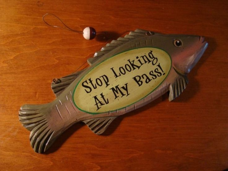 Stop Looking At My Bass Fishing Sign Log Cabin Lodge Home Decor New