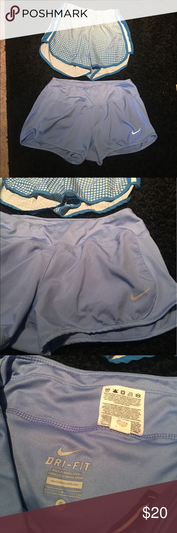 Blue Nike short bundle!! Both great condition, Tiffany blue Nike short bundle, all blue are size small, checkered are size XS but they both fit like small Nike Shorts Skorts