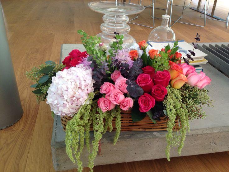 Flower arrangement basket roses babyrose hydrangeas