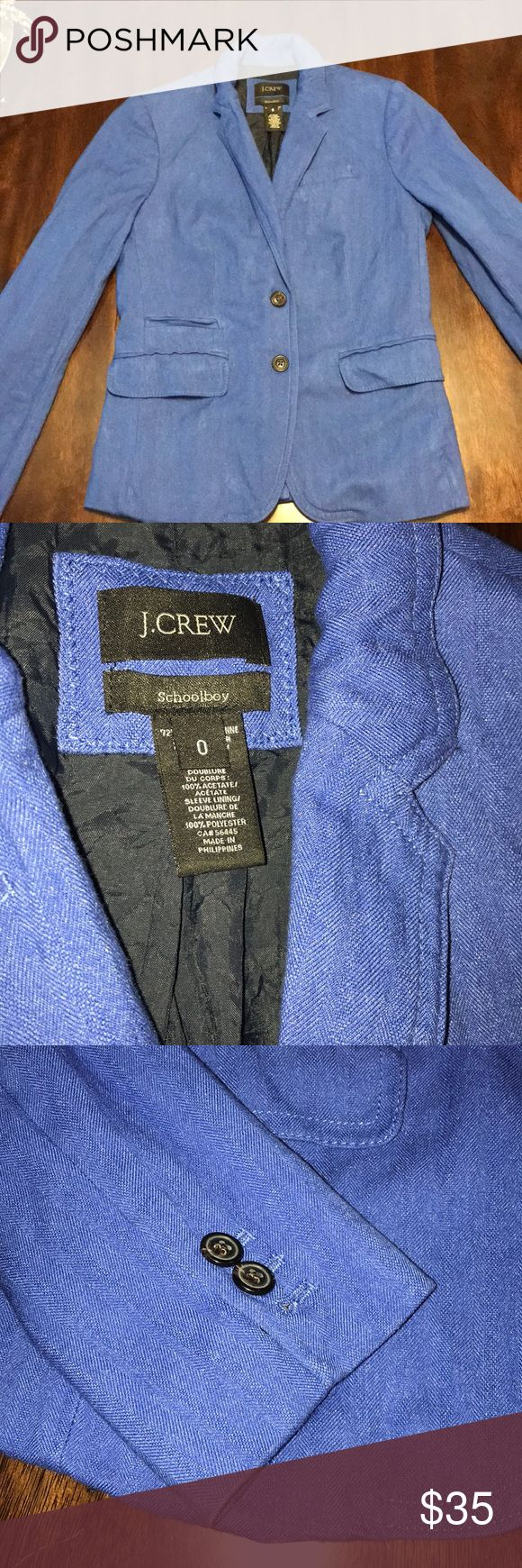 J. Crew Schoolboy Blazer. J. Crew Schoolboy Blazer.  Gently worn. Excellent condition. Small unthreading on the inside of the fabric but an easy fix. (see picture above) Size: 0 Make an offer! J. Crew Jackets & Coats Blazers