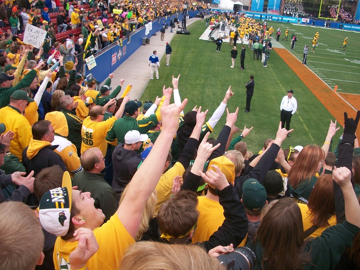 North Dakota State University Bison fans  in the final moments of the NCAA National Championship game in Frisco, TX! #Fargo
