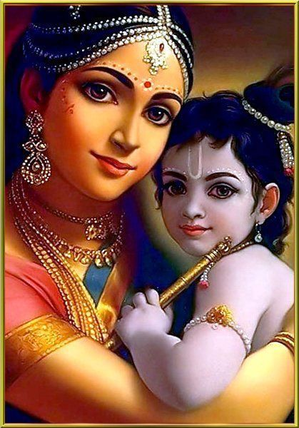Beautiful Lord Krishna Picture With Mother Yashoda Mata Krishna