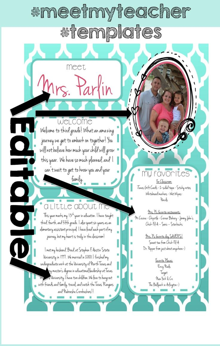 Free templates teaching pinterest for Free meet the teacher template