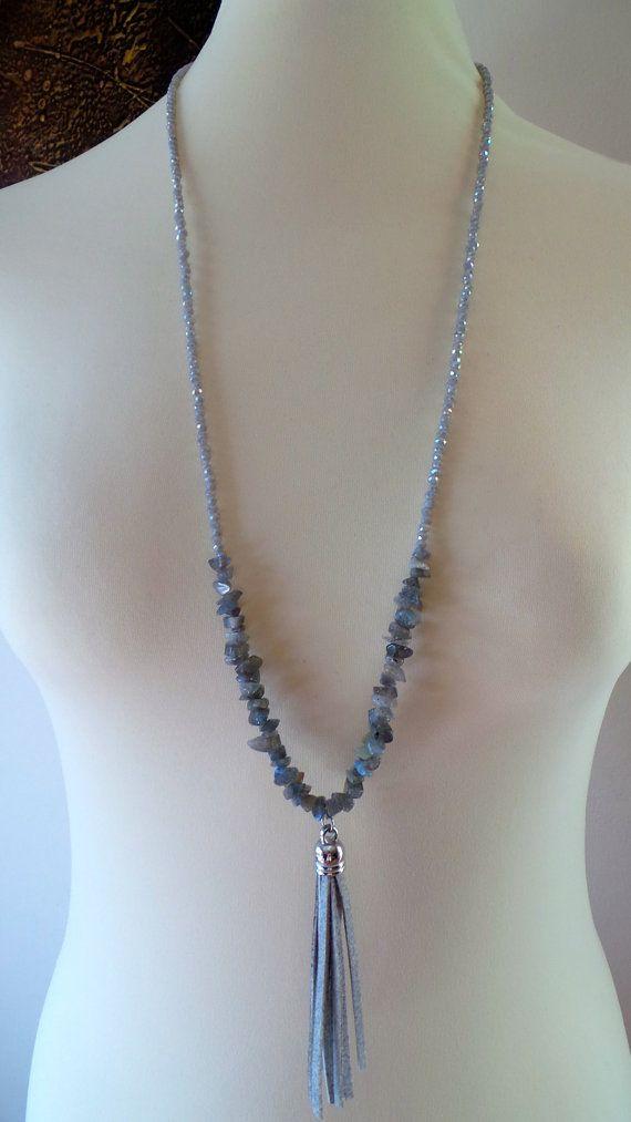 Collar largo perlas borla gris. Larga por AllAboutEveCreations