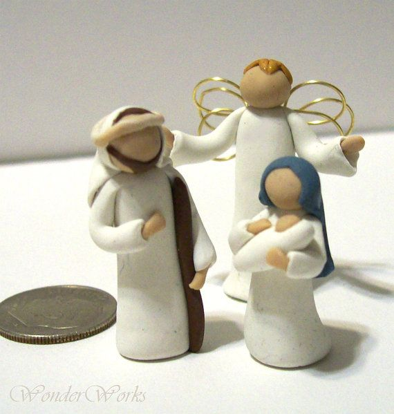 Tiny Nativity Set 3 Piece Miniature Figurines 1 door wonderworks, $35.00