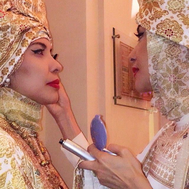 Janna and Amanda touch up before the show Spirituality : The Splendor of Sahara by Ghea Pangabean  #GheaXWardahGoesToCannes #WardahXGheaForIFFCannes2015
