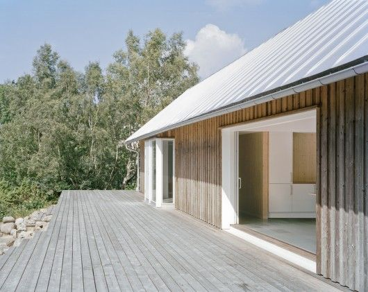 The outside is clad in untreated wood, roof in zinc and deck in larch. Materials that do not need any treatment over time and will age beaut...