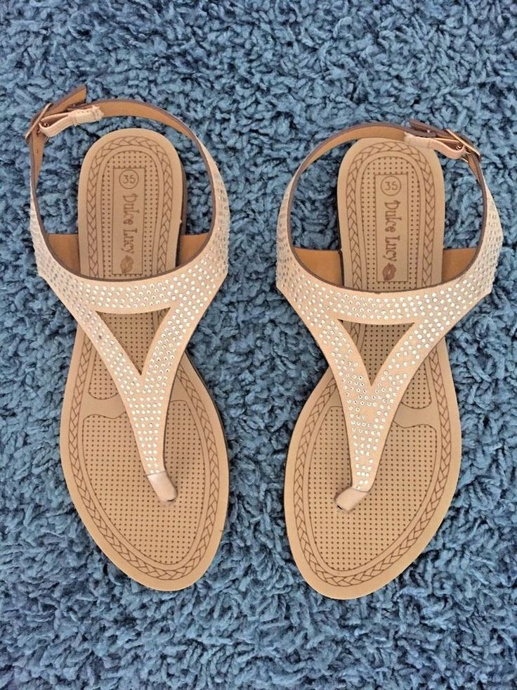 NEW Dulce Lucy Beige Flip flops Silver Brads Size 35 or 5 USA Adj. Back Gripper #DulceLucy #FlipFlops #Casual