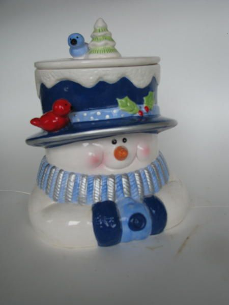 Snow Man with blue scarf Cookie Jar