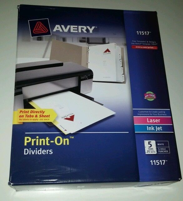 Avery 11517 Print On Dividers Laser Ink Jet 3 Hole Punched White 25 Sets 5 Tab Hole Punch Divider Divider Tabs